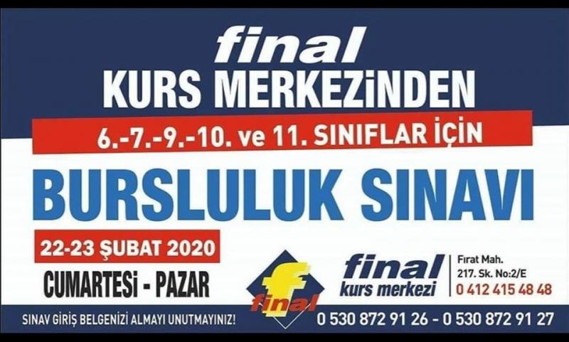 FİNAL BURSLULUK SINAVI 22-23 ŞUBAT'TA