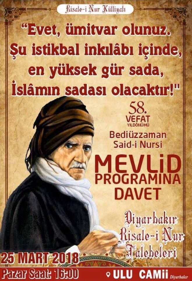 Geleneksel Diyarbakır Bediuzzaman Mevlidi ne Davet