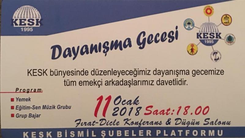 KESK'TEN BİSMİL'DE DAYANIŞMA GECESİ